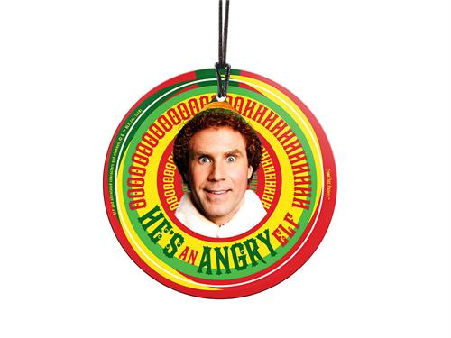 He's an angry elf.   This officially licensed Elf image of Buddy (portrayed by Will Ferrell) is fused directly and permanently into the glass collectible. Hang it from a tree or anywhere in your home where natural light illuminates the colors.