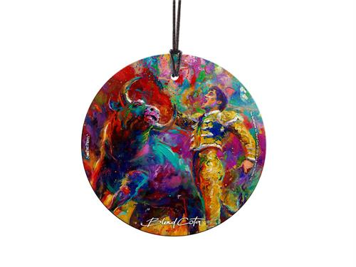 Ole! The Bullfighter dodges the bull's horns in this colorful hanging glass collectible. Featuring artwork by Blend Cota, the vibrant colors help the piece come to life. Hang this decoration near light to see the colors amazing all who see it.
