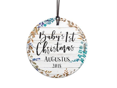 Celebrate a sweet little one's first Christmas with a farmhouse shiplap style and jewel tone leaves design. This hanging decoration is made of glass for a long-lasting, light-catching display.