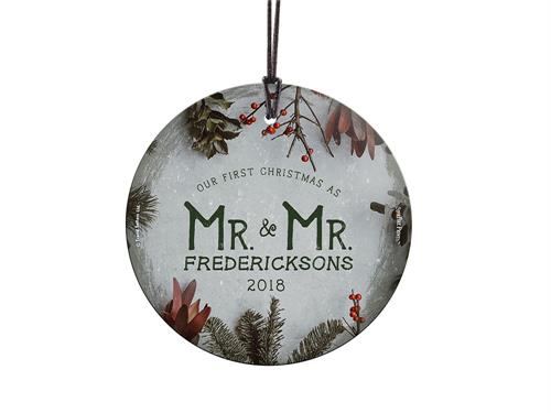 Celebrate your first Christmas married with this frosty green and cranberry decoration. The image is fused directly into glass!