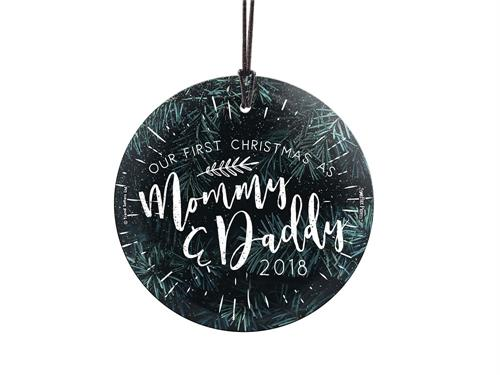 Celebrate your first Christmas as parents with this festive, evergreen glass decoration. The image is fused directly into glass!