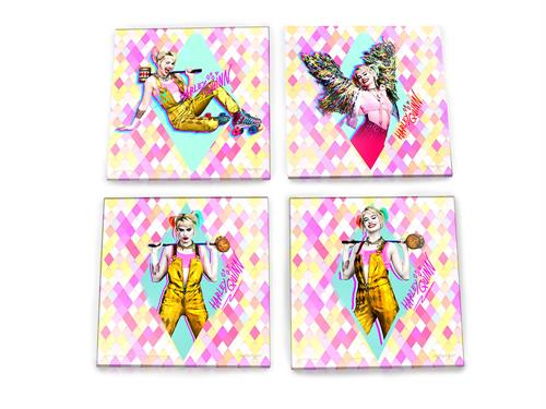 Featuring pastel colored diamond shapes and a Harley Quinn posing in four various images on this four-piece coaster set, this is the perfect gift for fans of Birds of Prey.