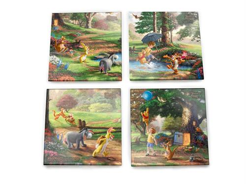 Bring the magic of Winnie the Pooh into your home with this StarFire Prints glass coaster set featuring images from Thomas Kinkade Studios' panoramic paintings, Winnie the Pooh I and Winnie the Pooh II, done in the artist's instantly recognizable style.