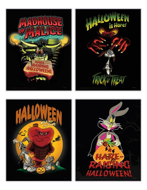 "Trick or Treat! Halloween is ""hare"" and Bugs Bunny is ready to celebrate. This set of four 8"" x 10"" TrendyPrint Wall Art prints are the perfect way to indulge in spooky season."
