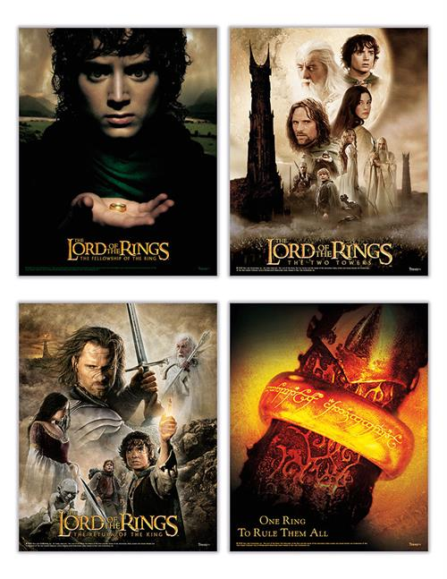 """One ring to rule them all."" This set of four 8"" x 10"" TrendyPrint Wall Art prints is perfect for any Lord of the Rings fan. Three of the four prints feature detailed art from each of the three films along with the movie titles."