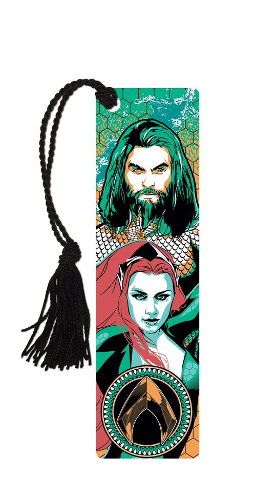 This durable, glossy, officially licensed bookmark features Aquaman and Mera as portrayed by Jason Momoa and Amber Heard in the 2018 movie.     The reverse side features a background based on Aquaman's armor with a splash of blue water.