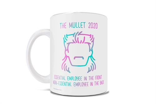 Essential employee in the front; non-essential in the back. This 11 oz ceramic mug features the iconic mullet in bright hues that will certainly stand out in a crowd just like the wild hair style.
