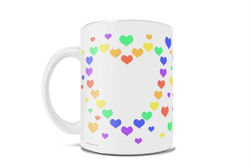 This 11 oz ceramic mug can represent anything you want it to, from thanking a frontline worker to celebrating a rainbow baby to showing your LGBTQ support. This cute mug is overed in rainbow colored hearts and making the heart shaped formation.