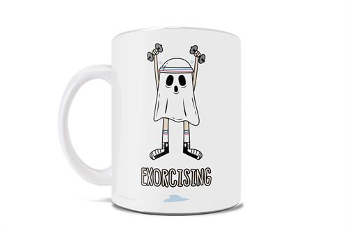 "During the months of September through November, you no longer exercise – you ""exorcise""! This punny 11 oz ceramic coffee mug is perfect to add to your Halloween décor this spooky season.   •	Ceramic mug •	11oz in size, weighs 1lb •	Designed and printed"