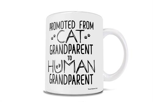Congratulations! You are being promoted from a kitten grandparent to a human grandparent! Celebrate your new title with this 11 oz ceramic mug.