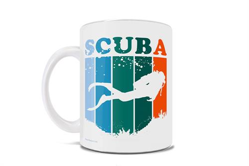 "Featuring a unique design of a scuba diver, the word ""scuba"" and several stripes in a beautiful color pallet, this 11 oz ceramic mug is covered in artwork that is great for the ocean lover in your life."