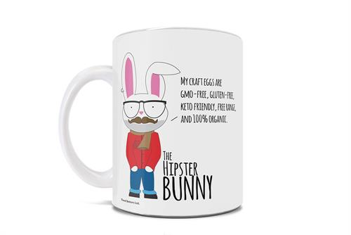 Wearing an ascot, flannel, earing and glasses, the bunny on this 11 oz ceramic white mug claims his craft eggs are healthy and organic for every lifestyle as you search for proper eggs this Easter.