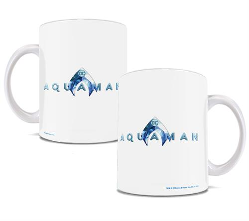 This somewhat minimalistic ceramic mug features the Aquaman logo in a cool, watery blue on both sides.