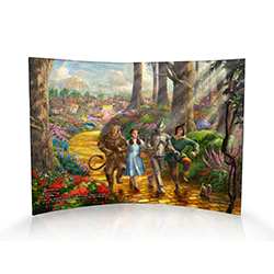 """We're off to see the Wizard, the wonderful Wizard of Oz!"" Dorothy, the Scarecrow, Cowardly Lion and Tinman skip hand-in-hand on this curved acrylic print. This masterpiece by Thomas Kinkade is as timeless as the classic film!"