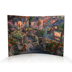 The Lady and the Tramp is a tale that involves all of our favorite things – a love story, puppies and spaghetti! This masterpiece by Thomas Kinkade is as timeless as the classic film. This curved acrylic print shows Lady and the Tramp carving their names