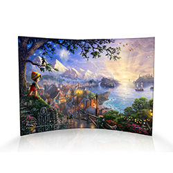 When you wish upon a star, your dreams come true! This masterpiece by Thomas Kinkade is as timeless as the classic Disney film. This curved acrylic print shows Pinocchio, the wooden puppet transformed into a human boy, wishing upon a star. Below Pinocchio