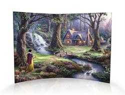 This masterpiece by Thomas Kinkade is as timeless as Disney's classic Snow White. This curved acrylic print features Snow White and some furry woodland creatures approaching a secluded cottage deep within the forest – little does she know that she will so