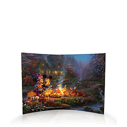 Minnie and Mickey are spending a cozy evening by a fire with graham crackers, marshmallows, chocolate and, of course, Pluto!  With the style and talent of Thomas Kinkade Studios, you can practically feel a cool breeze, taste the s'mores