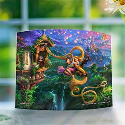 Flynn and Rapunzel swing free from the tower while Mother Gothel looks on in disappointment. Behind them, thousands of paper lanterns fill the sky. Now, you can have Disney's Tangled on display wherever you want in your house or at your office.