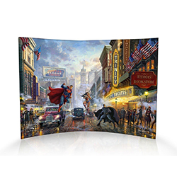 The defenders of justice are ready to protect their city. Thomas Kinkade Studios has created this stunning painting of Superman, Wonder Woman and Batman during the Golden Age of comics. Now you can show off your love for DC comics.
