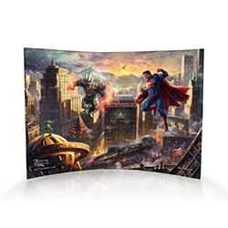 Superman takes to the skies to try and protect Metropolis from Lex Luthor and Doomsday.  This print by Thomas Kinkade Studios adds vibrant color to Metropolis, making the battle look stunning in the painting. Show off the Man of Steel in your home today!