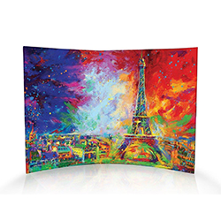 The Eiffel Tower bursts with color in this curved acrylic print featuring art by Blend Cota. As light passes through the frame, the color comes to life, letting anyone who sees this print in your house admire the beauty of Paris' famous landmark.