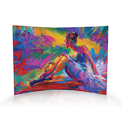 Blend Cota has masterfully painted a ballerina at rest in this curved acrylic print. The vibrant colors help the print stand out no matter where you place it in a room. Perfect for the art collector in your life!