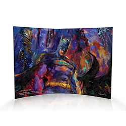 The Dark Knight comes to life in this unique artwork by Blend Cota. Made up of a variety of colors instead of the standard black, Batman pops off the curved acrylic print as he stands ready to defend Gotham City.