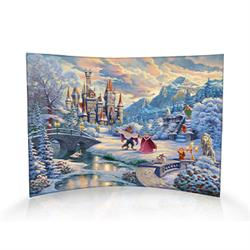 Indulge in the tale of Beauty and the Beast with this curved acrylic decoration featuring artwork by Thomas Kinkade. A recent snowfall brings Belle, the Beast and their friends together to enjoy the beauty of winter. Belle and the Beast dance as Mrs. Pott