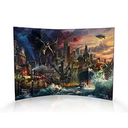 "This 10"" x 7"" curved acrylic print includes Aquaman with his trident in hand, Superman flying from above, Batman swinging into action, Wonder Woman with her Lasso of Truth on a neighboring building and Cyborg ready to spring into action."