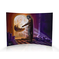 "This 10"" x 7"" curved acrylic print displays the scene of Mandalorian Season 1 where Mando and Baby Yoda meet for the first time, touching hands."