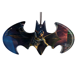 "Batman is swinging into action on this bat-shaped hanging acrylic decoration. Designed with original artwork by Thomas Kinkade, the Dark Knight is seen on this 4.5"" x 2.2"" accessory joining the rest of the Justice League members."