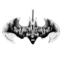 "Gotham City is one of the most iconic places in the DCEU. Featured on this 4.4"" x 2.2"" bat-shaped hanging acrylic accessory is a black and white design of the famous Gotham City."
