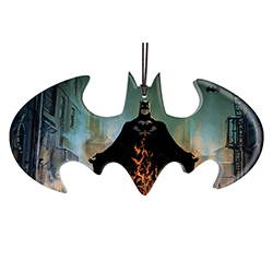 "Batman becomes the Devil of Gotham on this 4.4"" x 2.2"" bat-shaped hanging acrylic decoration. On this unique accessory, Batman stands behind rising flames in an alleyway in Gotham City."