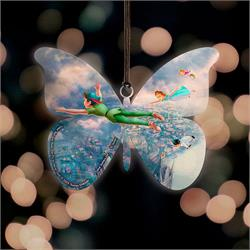 Peter Pan, Wendy, John and Michael soar high above London in this butterfly-shaped hanging acrylic decoration. Featuring artwork by Thomas Kinkade