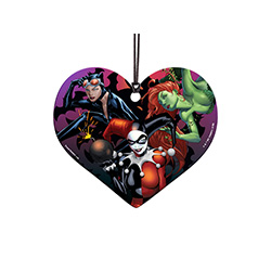 This officially licensed heart-shaped hanging acrylic features Catwoman, Harley Quinn, and Poison Ivy. I'm sure they're not up to anything villainous.