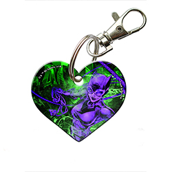 "Selina Kyle looks as daring as ever on this 2"" heart-shaped acrylic keychain! Catwoman is designed in bright purple hues as she whips her favorite weapons around."