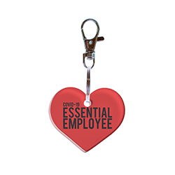 "This heart shaped acrylic keychain features the words ""COVID-19 2020 Essential Employee"" to represent those who are working on the front lines during the historical pandemic."