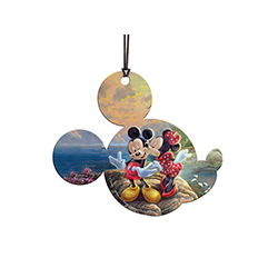 Disney's Minnie gives Mickey Mouse a sweet smooch by the sea in Thomas Kinkade's Sweetheart Cove.    This officially licensed Thomas Kinkade Studios hanging acrylic decoration features Disney's most beloved duo. The vivid image is fused directly on print
