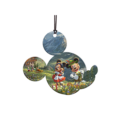 This officially licensed Thomas Kinkade Studios hanging acrylic decoration features Disney's most loveable duo. The vivid image is fused directly into the Mickey profile-shaped acrylic for a lasting, light-catching display visible from both sides.