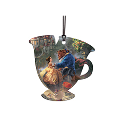 Beast offers Belle a hand on the castle veranda while Mrs. Pots and Chip are happily nearby.  This officially licensed Thomas Kinkade hanging acrylic decoration features Disney's Beauty and the Beast.