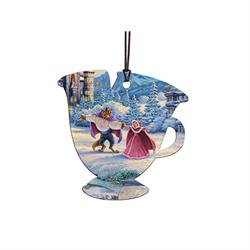 This officially licensed Thomas Kinkade hanging acrylic decoration features Disney's Beauty and the Beast. The vivid image is fused directly into the teacup-shaped acrylic for a lasting, light-catching display visible from both sides.
