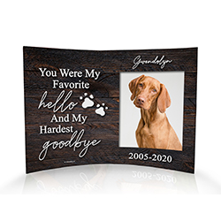 "While nothing will quite make the pain go away, our 10"" x 7"" curved acrylic print is a beautiful way of remembering their spirit and memorializing your best friend."