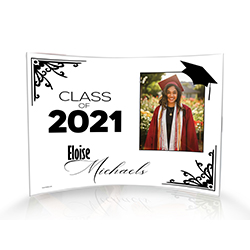 "Upload your graduate's image and personalize this 10"" x 7"" curved acrylic print by adding their graduation year and name. Intricate framing detailing and a graduation cap bring a timeless style to this decoration."