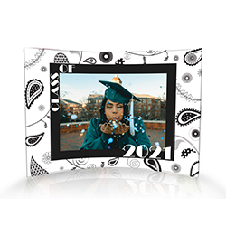 "Upload your graduate's image and personalize this 10"" x 7"" curved acrylic print by adding their graduation year. A fun framing of black and white paisley detailing give this piece a timeless retro vibe."