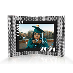 "Upload your graduate's image and personalize this 10"" x 7"" curved acrylic print by adding their graduation year. A fun framing of black and white polka dot detailing give this piece a timeless retro vibe."