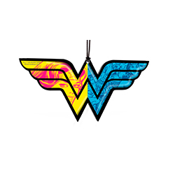 "Wonder Woman is ready to fight injustice and liven up your home decor on this 4.5"" x 2.2"" hanging acrylic decoration. Shaped in the famous heroine's WW logo, this accessory shows two different sides of Wonder Woman"
