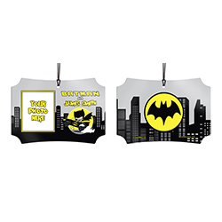 You know you're the Caped Crusader. Now, show off to the world that you're Batman at night with this personalized hanging metal decoration. Add your photo and name so that everyone remembers what you're also known as.