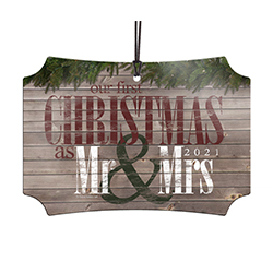 Congratulations! Commemorate your first married Christmas with a sleek and modern hanging metal decoration with a rustic, woodsy touch. The image is fused directly and permanently into the metal for a unique, lasting keepsake or gift. Comes with string.
