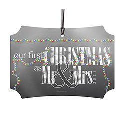 Congratulations! Commemorate your first Christmas as a married couple with a unique, modern hanging metal decoration. The image of twinkling lights on a steel gray background is fused directly into the metal!  It comes with hanging string for easy display